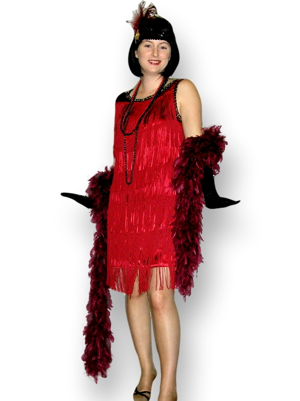 This 1920's Flapper girl costume hire consists of Fringed burgundy ...