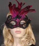black and pink lace eye mask