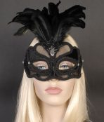 black feathered eye mask