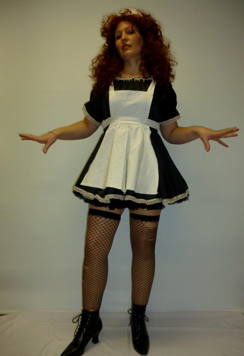 Ladies Sizes HALLOWEEN//ROCKY HORROR SHOW//Maid MAGENTA MAD MAID COSTUME