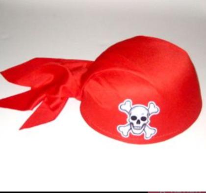 Pirate skull cap red