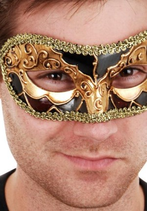 mens masquerade mask gold black