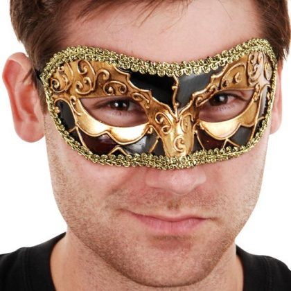 mens masquerade mask gold black
