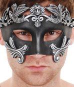black silver mens masquerade mask