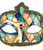 masquerade mask gold blue