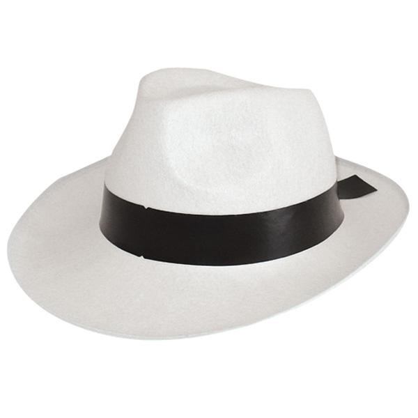Backyard Band Keep It Gangsta: GANGSTER HAT- White Black Band -Creative Costumes