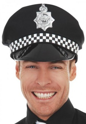 Checked police cap