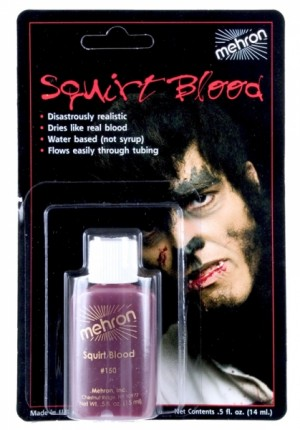 Bright arterial red squirt blood by Mehron.  Ideal for a Vampire costume.