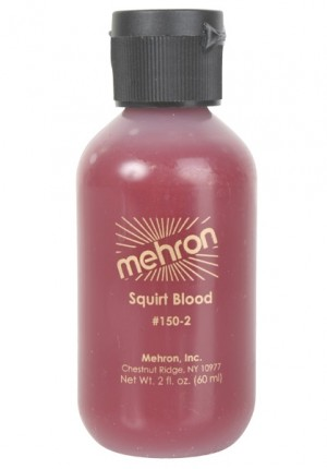 Bright red squirt blood 60ml bottle by Mehron. Ideal for Vampires.