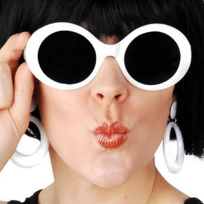 60's white glasses