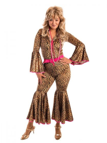 70s Leopard Ladies Jumpsuit Costume, 70s costume, 70s jumpsuit