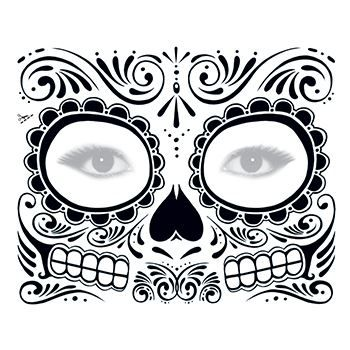 day of the dead face tattoo skull