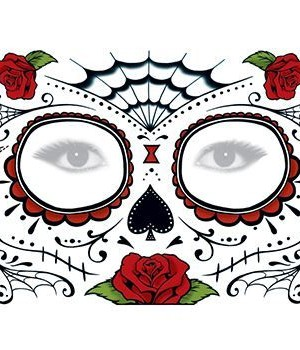 day of the dead face tattoo roses