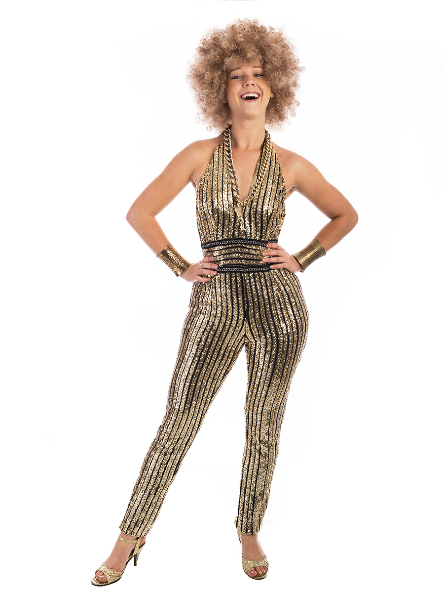 12d883f68154 1970s Disco Costume Gold Jumpsuit -Creative Costumes