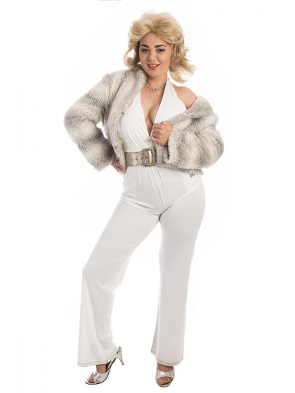70s White Disco Costume, 70s Jumpsuit, Studio 54, 70s disco