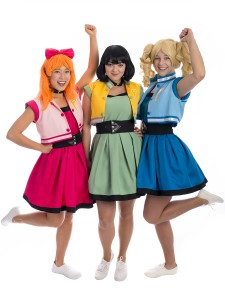 Powerpuff Girls Group Costume, Powerpuff girls costume, power puff girls, bubbles powerpuff, blossom powerpuff, buttercup powerpuff girls