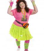 80s Fluoro Plus Size Costume, 80s Plus Size Costume, 80s disco, 1980s, aerobics