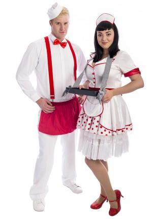 Ice Cream Scoop Couples Costumes, waiter and waitress coupels costume, waiter costume, waitress costume, retro waiter,