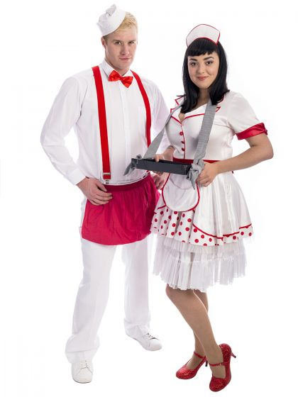 Ice Cream Scoop Couples Costumes, waiter and waitress coupels costume, waiter costume, waitress costume, retro waiter,