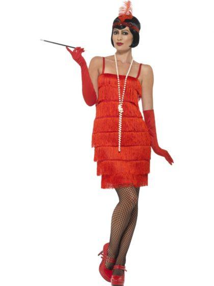 short red flapper costume
