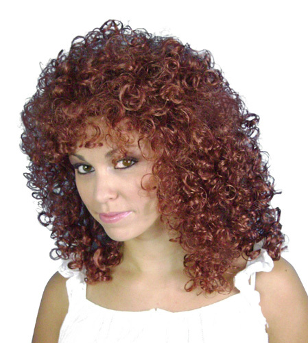Red 80s curly wig