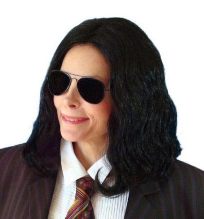 black centre part wig
