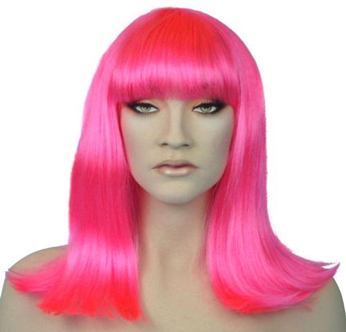 shoulder length hot pink wig.
