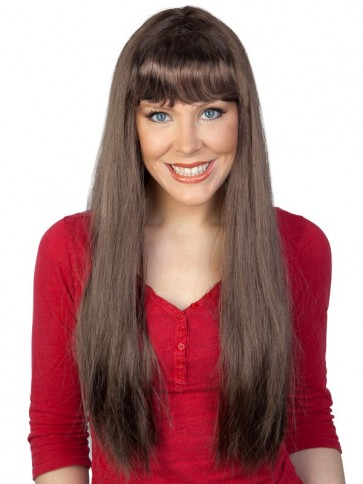 straight brown wig