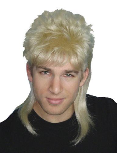 1980s blonde mullet wig