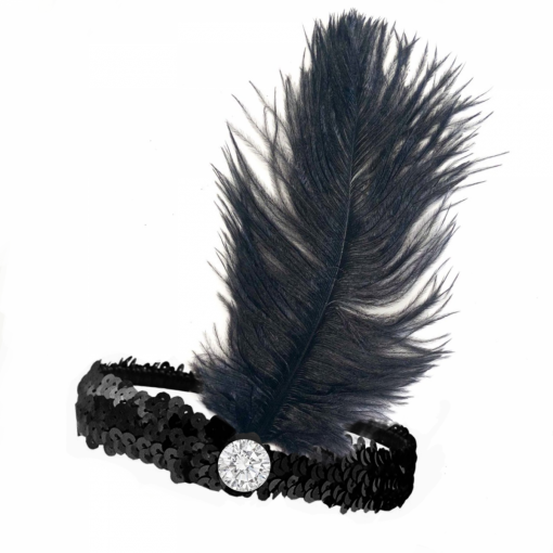 20s Flapper Headband Sequined - Black (Artificial Feather)