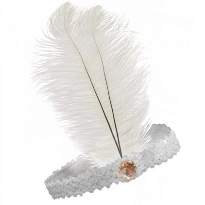 20s Flapper Headband Sequined - White