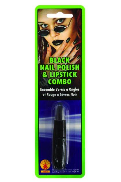 Black Nail Polish and Lip Stick Combo