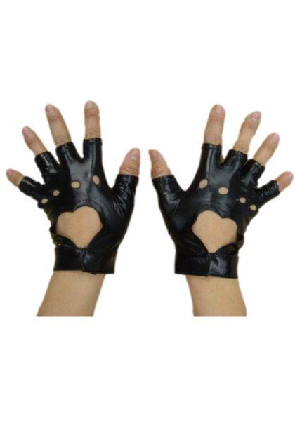 punk gloves black