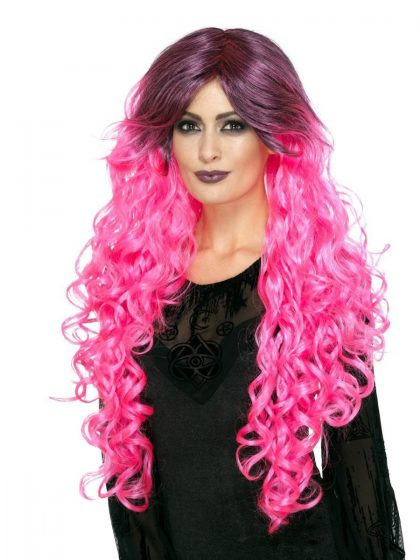 Gothic Glamour Wig, Neon Pink