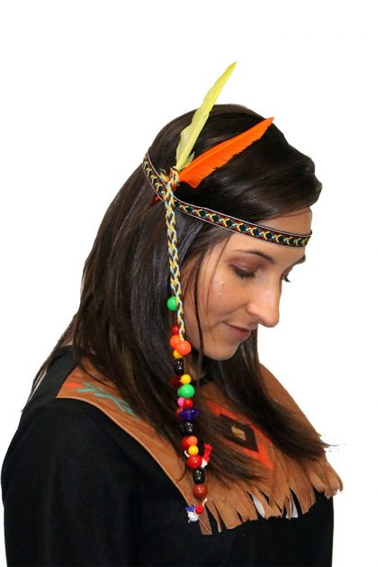 Indian Headband with Beads and Feathers