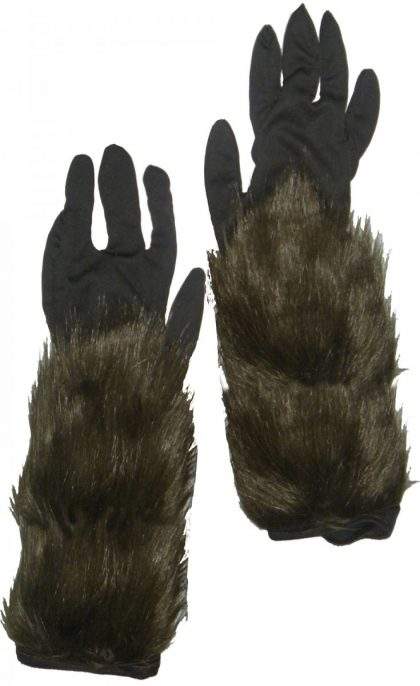 Long Hairy Werewolf Gloves - Adult