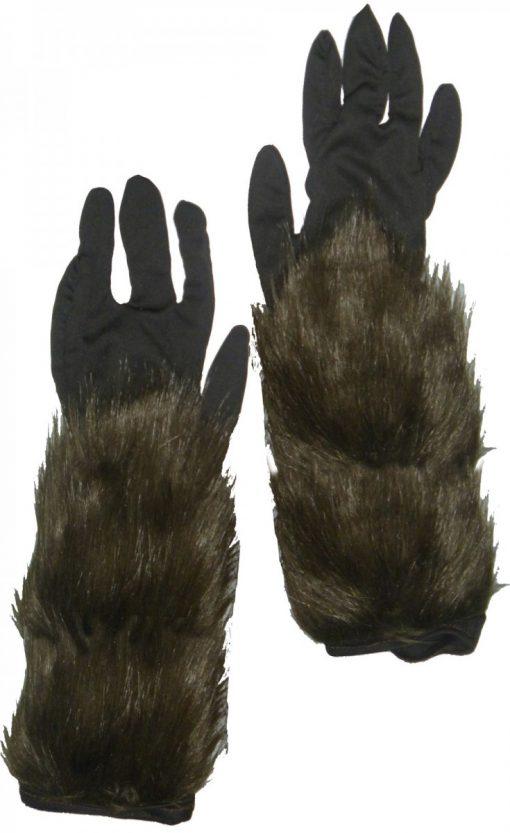 Long Hairy Werewolf Gloves - Adult