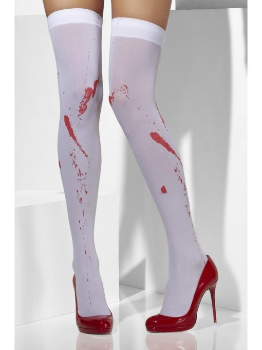 Opaque Hold-Ups, White, Blood Stain Print