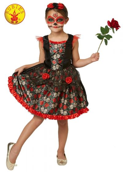 RED ROSE DAY OF THE DEAD COSTUME, CHILD