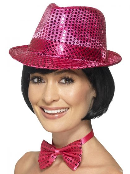 Sequin Trilby Hat, Pink