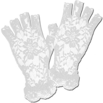 Short Lace Fingerless Gloves - White