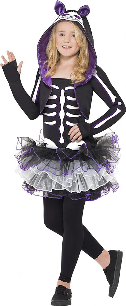 Smiffys Children's Skelly Rabbit Costume, Dress and Shrug with Hood,