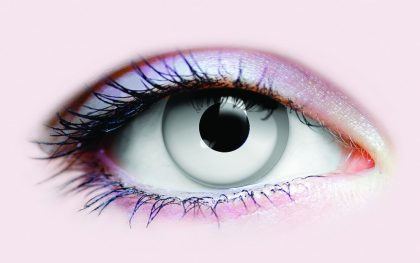 Scary white zombie contact lens