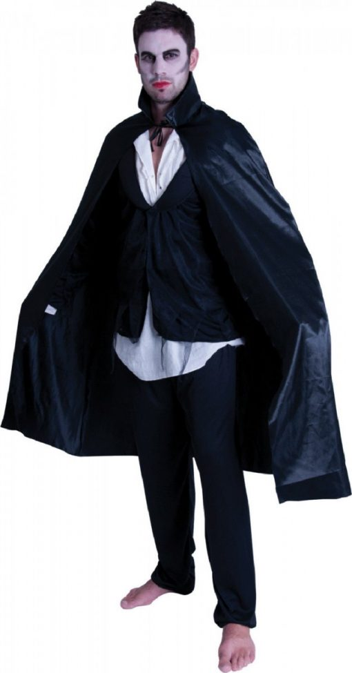 Adult Satin Cape with Collar - Black