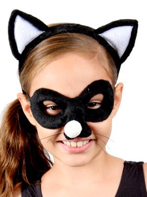 Animal Headband & Mask Set - Cat Back and White