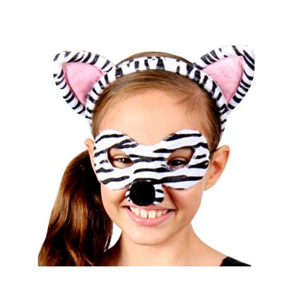 Animal Headband & Mask Set - Zebra