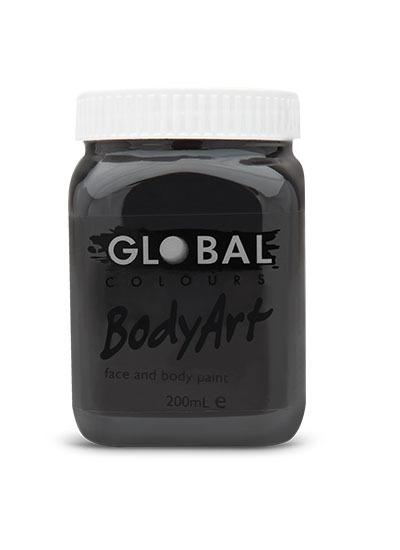 Black - Face & Body Paint Liquid 200ml
