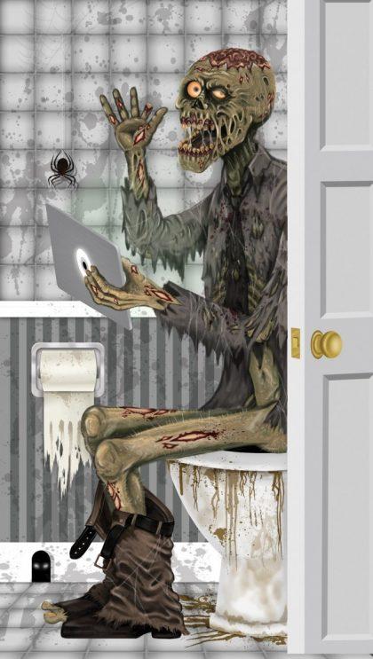 Door Cover - Zombie On Toilet