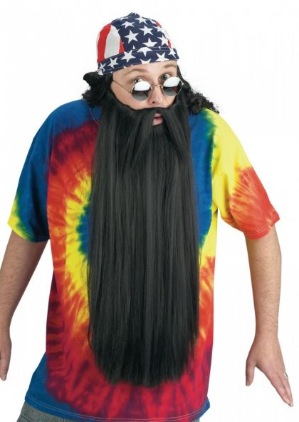 Extra Long Beard with Mustache - Black