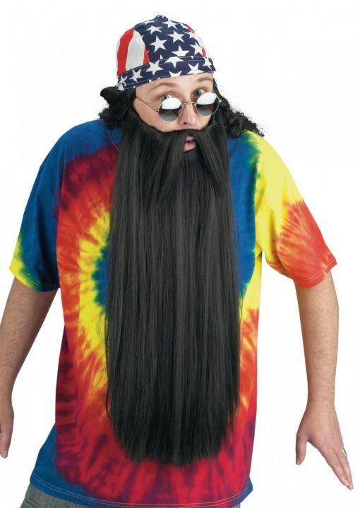 Extra Long Beard with Mustache - Black